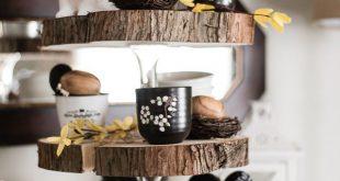 DIY Rustic Three Tier Wood Slice Stand