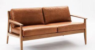 "Mathias Mid-Century Wood Frame Leather Loveseat (66"")"