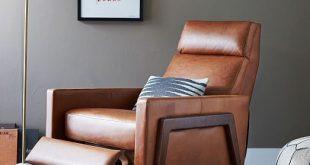 Spencer Wood-Framed Leather Recliner