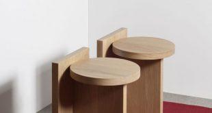 Taco oak - Geometric oak wood stool - GOFI