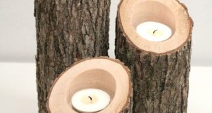 Tree Branch Candle Holders IV- Rustic Wood Candle Holders, Tree Slice, Wooden Ca...