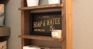 Bathroom Farmhouse Ladder Shelf, Industrial Towel Bar, Rustic Wood Rope Shelf, Modern Renovation, Shabby Chic