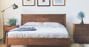 Fulton Bed - Solid Walnut Bed Frame with Slanted Headboard - Customizable