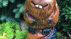 CHAINSAW CARVED Beaver OAK WOOD Sculptures Funny Folk Art Rustic Log Home Decor