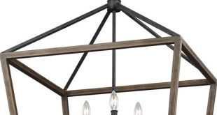"Feiss F3192-6WOW-AF Gannet Weathered Oak Wood / Antique Forged Iron 25.5"" Foyer Lighting Fixture"