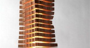 Minimalist Wood Sculpture Fine Art Wood Sculpture on Illuminated Glass Core