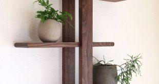 Modern Wall Shelf, Solid Walnut for Hanging Plants, Books, Photos. Handmade, Adj...