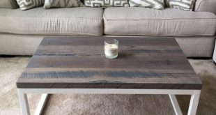 Our farmhouse coffee table we built from solid oak salvaged from the home of our