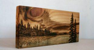 Sunset Art Block Wood burning by TwigsandBlossoms on Etsy
