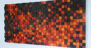 "Wood Wall Art, ""Fire"" modern wood art, new 2018 designs, wooden sound diffuser, wood sound diffusor"