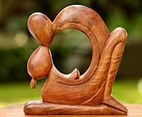 Artisan Crafted Mother and Child Wood Sculpture, 'A Mother's Love'