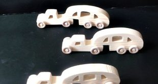 Pkg of 3 Handcrafted Wood Toy Pickups-Campers 95CAAH-U 3 unfinished or finished
