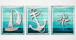 Rustic Nautical Decor, Wood Anchor, Nautical Wood Art. Nautical Anchor Wood Art Print, Sailing Nursery, Beach Bathroom Art, Nautical Compass