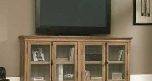 Scribed Oak Wood Finish TV Stand with Tempered Glass Doors - Made in USA Q280-HDVD4519581