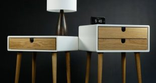White nightstand / Bedside Table, Scandinavian Mid-Century Modern Retro Style wi...