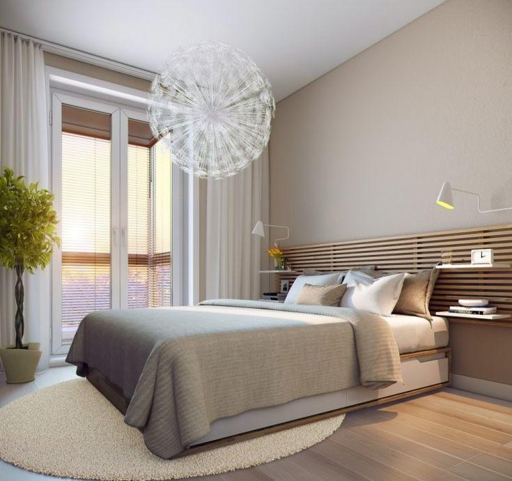 kleine schlafzimmer modern creme wandfarbe holzlatten bett kopfteil   Wood Ideas