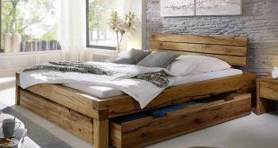 Balkenbett Bett Doppelbett 180x200cm Wildeiche Eiche Holz massiv geölt NEU OVP