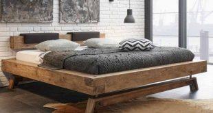 Balkenbett Villary aus Wildeiche Massivholz im Loft Style