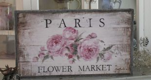 Barnwood Framed/Printed on Wood Paris Flower Market French Farmhouse Wood Framed Print by Debi Coules