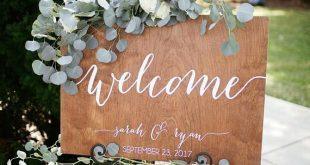 Ein Willkommensschild lädt Ihre Gäste dazu ein, bei Ihrer Hochzeit herumzuhängen … #WoodWorking