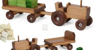 FARM TRACTOR with TRAILER CART HAY BALES & FEED SACKS - Handmade USA Wood Toy