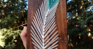 Feather string art on wood tribal boho minimalist decor - Indian southwest style feather sign decor - Mandala gallery wall housewarming gift