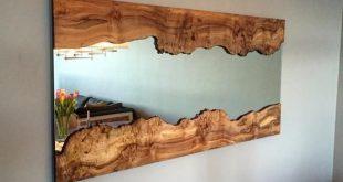 Handgefertigter Live Edge Wandspiegel mit Live Edge Holzrahmen – #Edge #Frame #Hand