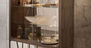 High End Contemporary Oak Brass Display Cabinet