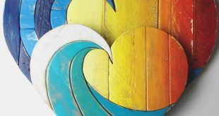 """Holz Welle Herz rustikale Wohnkultur 20"""", altgemacht Holz, Holzkunst, Wandbehang, Strand Kunst, Palette Holz, mehrfarbig, Frühling dec"""