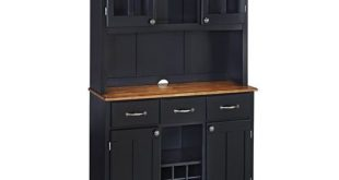 Home Styles Furniture Black Buffet With Two Door Hutch And Cottage Oak Wood Top 5100 0046 42
