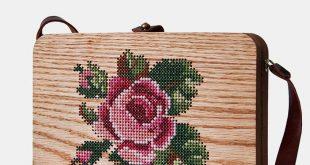 Large rose stitched wood bag