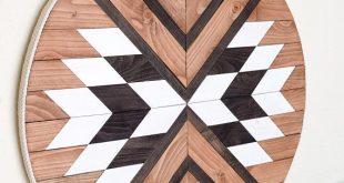 MANTRA Wood Wall Art - Macrame Wall Hanging - Boho Wood Art - Round Wooden Wall Art - Modern Wood Art - Macrame - Fiber Art - Bohemian Decor