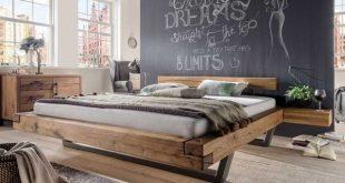 Massivholz Doppelbett Isner aus Wildeiche Balken und Kufengestell aus Metall (3-teilig)