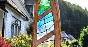 Mea--Stained Glass & Wood Art Sculpture
