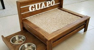Medium Rustic wood dog bed with pull out feeding station- Raised dog bed with built-in food stand- Medium Pet Bed