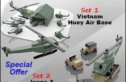 Military Miniatures Vietnam Huey Air Base + Jeeps & Chopper Gurney Wood Toy Plans (2 PDF Downloads)