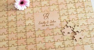 Personalisierte hölzerne Hochzeit Puzzle Stück Gästebuch