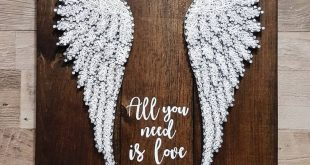 """Quotes About Wedding : """"All You Need Is Love"""" quote & wings String Art"""