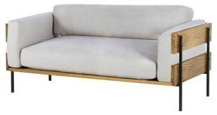 Thomas Bina Carson Modern Classic Grey Upholstered Light Oak Frame Loveseat
