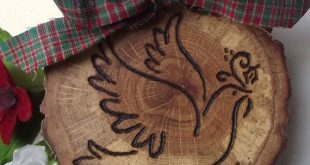 Wood Ornament - Rustic Spalted Oak Wood Wooden Holiday Ornament - Wood Burned Do...