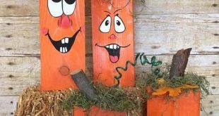 Wooden Pumpkins - Hand Painted Pumkins - Fall Decor - Pumpkin Blocks - Halloween - Pumpkins - Silly Face Pumpkins